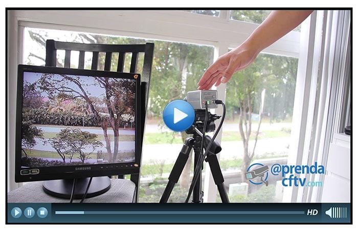 Demonstração de câmera de CFTV analógica