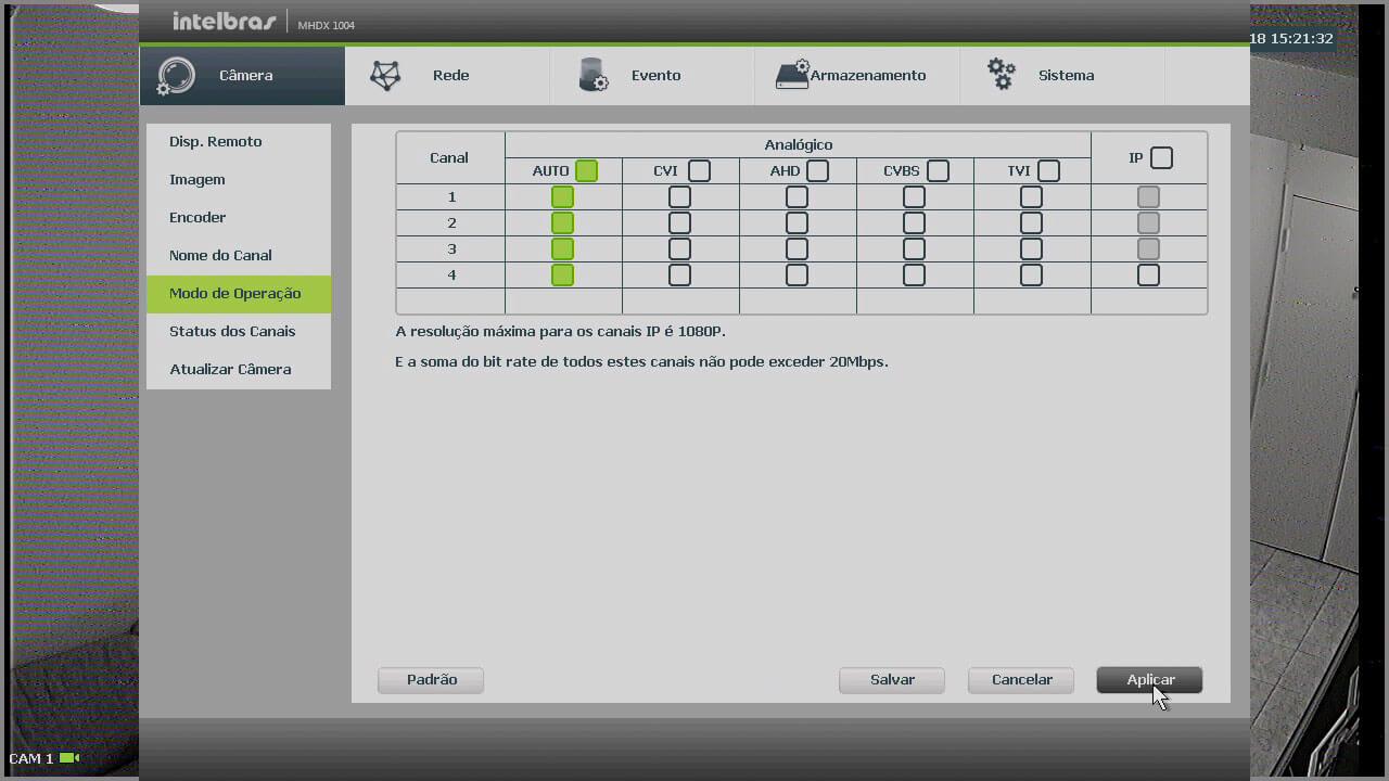 VHD control - Menu em automático