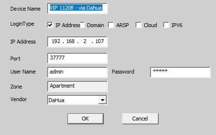 Configuração da VIP1120B no CMS via protocolo Dahua