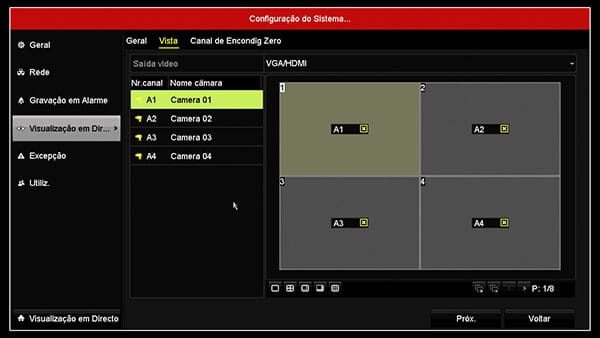 DVR Hikvision câmera layout display
