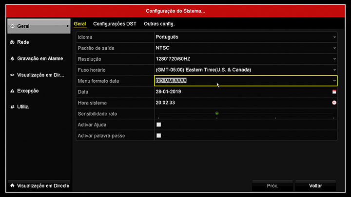 DVR da Hikvision Menu Data e hora