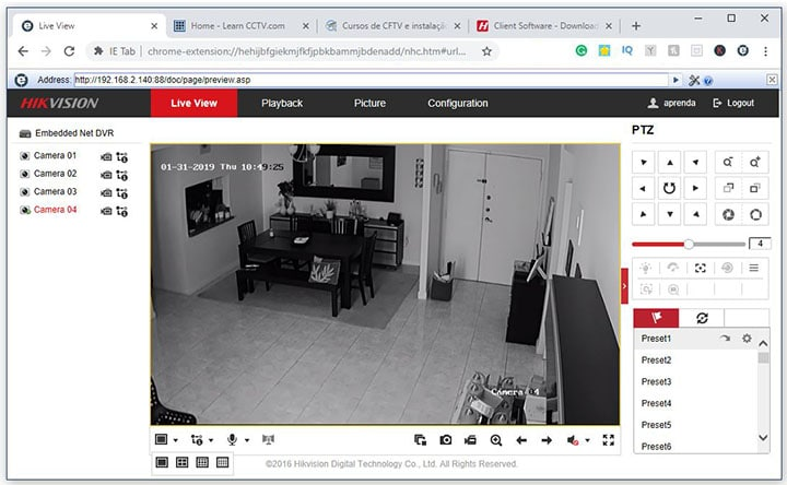 Google Chrome IE tab Hikvision DVR login OK