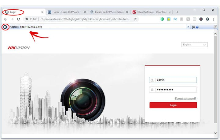 Google Chrome IE tab for Hikvision DVR login