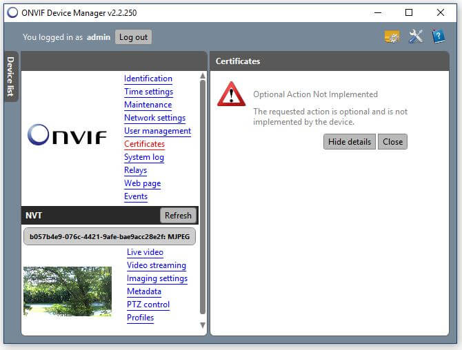 Onvif Device Manager Camera Certificates