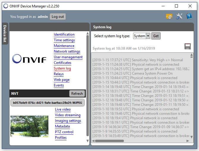 Onvif Device Manager Camera system log
