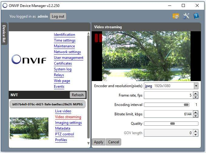 Onvif Device Manager Camera Video Streaming