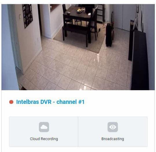 Canal 1 do DVR na nuvem