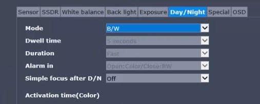 Menu de Day/Night em câmera IP