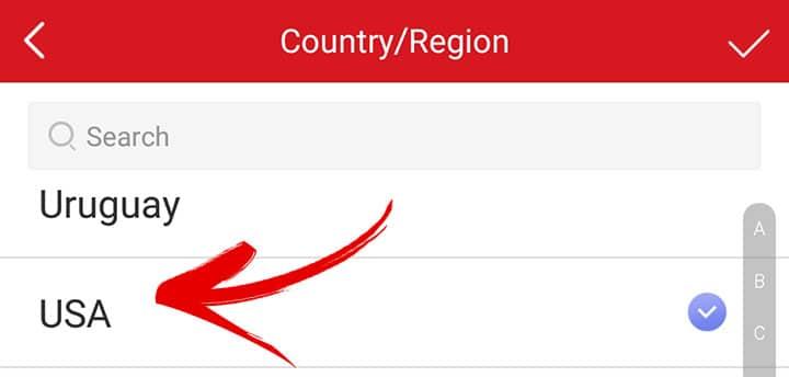 Escolhendo o país no App do Hik-connect