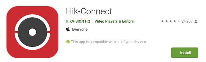 Hik-connect app na PlayStore