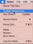 MAC OS meu de preferências do sistema