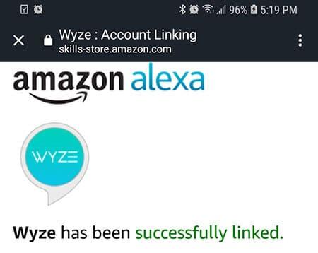 Alexa vinculada `a Wyze Cam