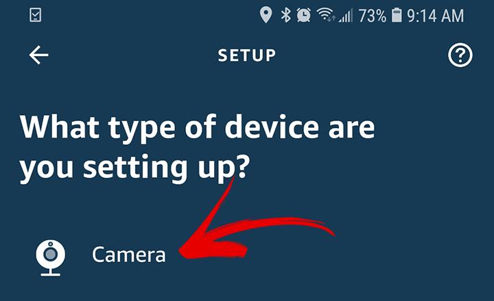 Escolha o tipo de câmera