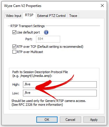 Parâmetro RTSP para a Wyze Cam
