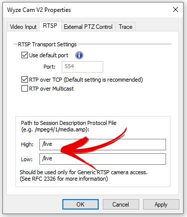 Luxriot Configuration Devices Wyze Cam Channel Config Properties RTSP