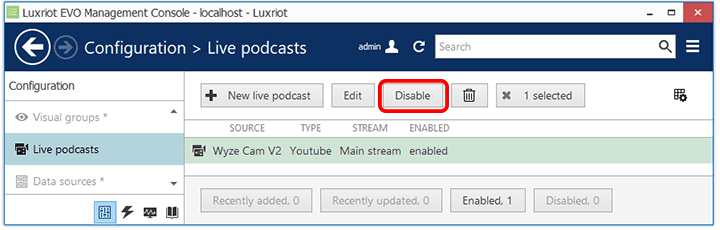 Luxriot Evo - botão desativar