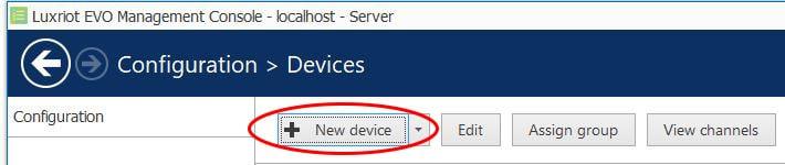 Luxriot Evo - Adicionar um novo dispositivo
