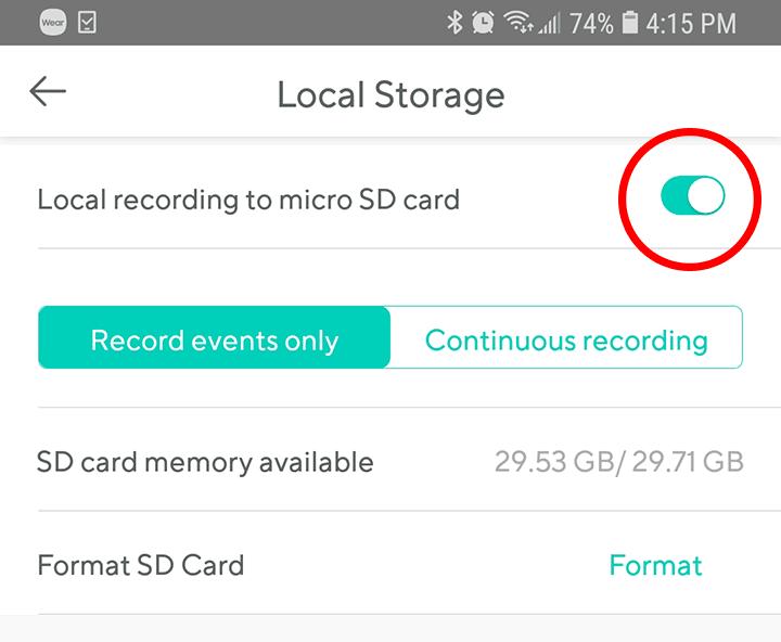 Ative a gravação no cartão de memória