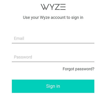 Credenciais para conectar com a Wyze Cam
