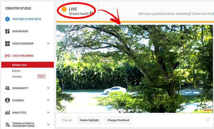 Transmissão ao vivo no YouTube