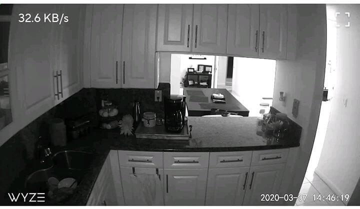 Wyze Cam com imagem em preto e branco