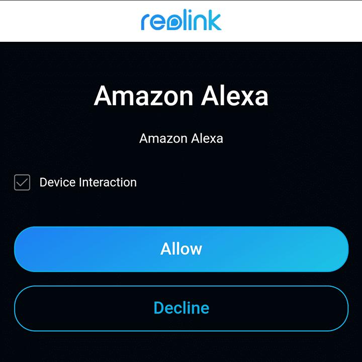 Permita à Alexa a interação com a Reolink