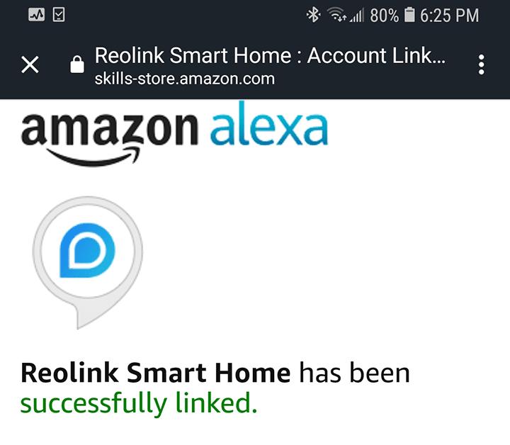 Alexa e Reolink conectados com sucesso