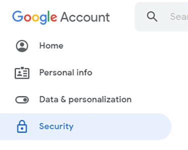 Menu de gerenciamento de segurança do Google
