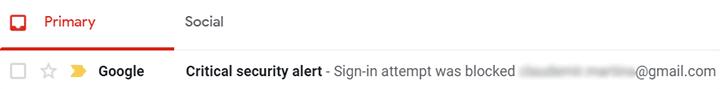 Alerta de segurança do Gmail