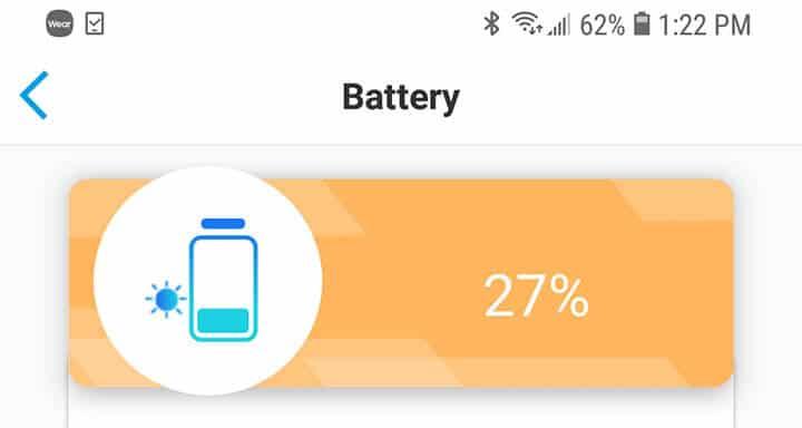 Reolink Argus PT - Indicador de bateria a 27%