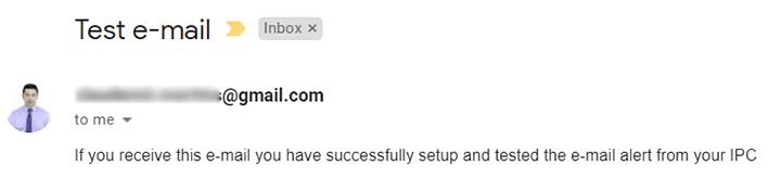 Teste de email da câmera da Reolink