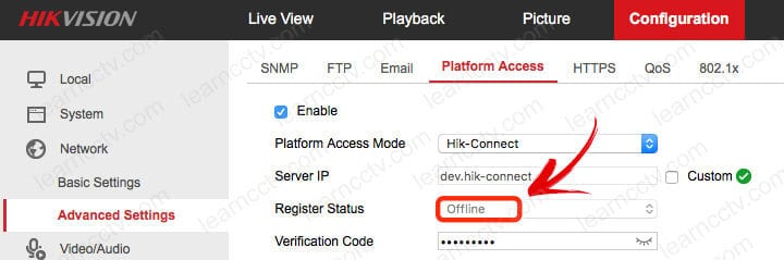Hik-connect status offline