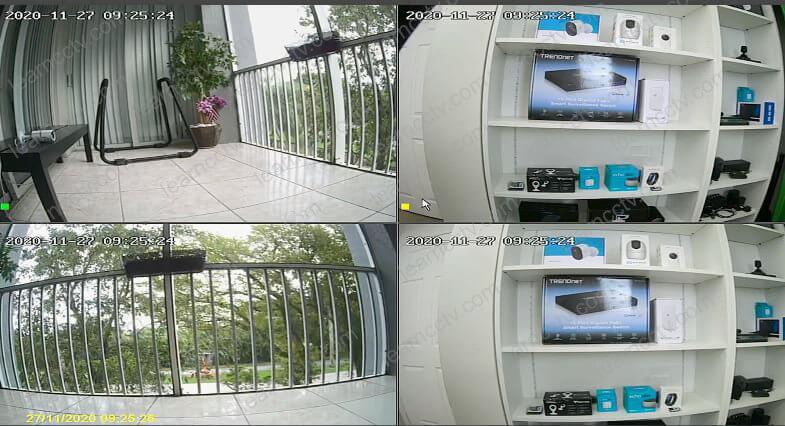 Câmeras IPs conectadas ao NVR